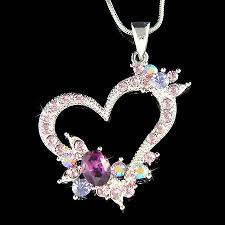 crystal love heart necklace images Purple swarovski crystal love heart flower valentine charm pendant jpg