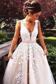 white lace prom dress trailing white lace appliqued plunging v neckline blush tulle