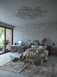 suspension design chambre chambre grise sol en parquet massif tapis vintage chaises