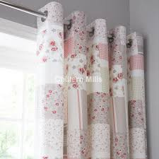 garden pink lined eyelet curtains