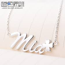 Custom Necklace Name Blue Sweet Couple Necklaces Personalized Custom Diy Name Necklace