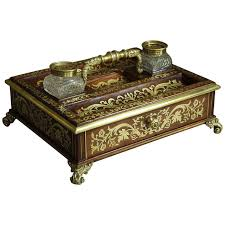 Brass Desk Accessories by Regency Rosewood And Inlaid Brass Desk Stand Inkstand For Sale At