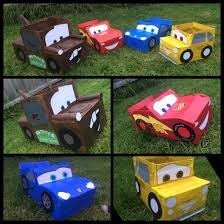 cars sally and lightning mcqueen disney cars cardboard box car made these for my son birthday