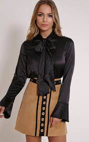 blouses with bows amelia black satin bow blouse tops prettylittlething