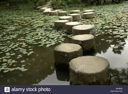 Zen Water Garden Stepping Stones Over A Water Lily Pond In A Zen Garden At The