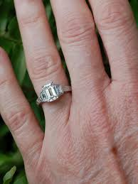 three emerald cut engagement rings of the week emerald cut 3 ring