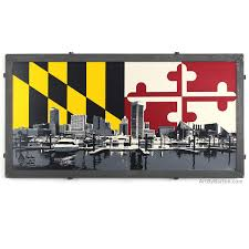 Flag Of Baltimore Baltimore Skyline With Md Flag Art By Barton Artwork