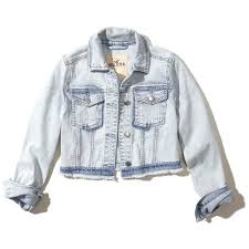 light blue cropped jean jacket hollister cropped denim jacket 1 140 uyu liked on polyvore