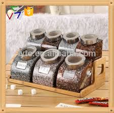 kitchen ceramic canister sets with spoon and wooden stand buy