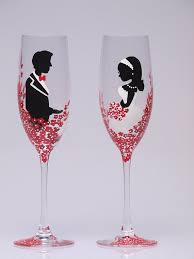 wedding glasses painted wedding toasting flutes set of 2 personalized