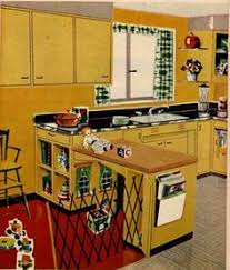 1950s Kitchen Furniture Notice The Kitchen Cabinets And Accent Color Yellow With Red