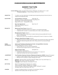Resume Mechanical Engineering Sample College Internship Resume Intern Cover Letter Sample