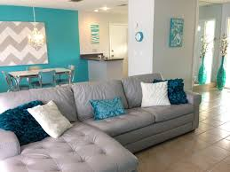 Florida Home Beach House Leather Couch Homemade Art Tan And - Teal living room decorating ideas