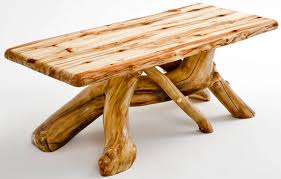 rustic coffee table natural aspen wood solid log furniture