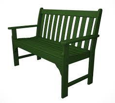 Green Plastic Outdoor Chairs Amazon Com Polywood Vineyard 48 Inch Bench Green Outdoor