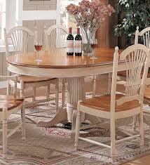 cottage round oval pedestal dining table in honey top buttermilk
