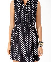 forever 21 sleeveless ditsy heart shirtdress in blue lyst