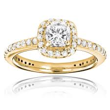 gold cushion cut engagement rings 14k gold cushion cut diamond unique engagement ring 1 22ct halo design