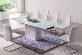 White Marble Dining Tables White Marble Extending Dining Table And 6 Chairs Set Ebay White