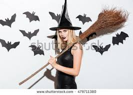 Woman Black Halloween Costume Happy Gothic Young Woman Witch Halloween Stock Photo 479711434