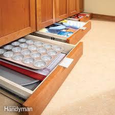 Handyman Kitchen Cabinets Kitchen Storage Cabinet Rollouts Family Handyman Putting Drawers