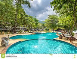 beautiful swimming pool in public tropical resort koh chang