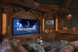 marvelous home theater decorating ideas with ancient brown wooden