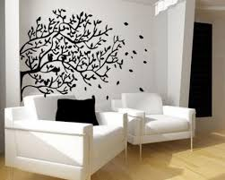 comfortable vinyl wall art ideas with hanging bird cage interior wall design stickers with black tree art living space