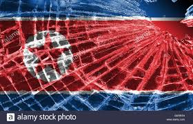 Th Flag Broken Glass Or Ice With A Flag North Korea Stock Photo Royalty