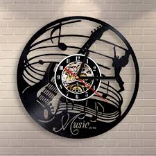 compare prices on music themed clocks online shopping buy low free shipping 1piece musical theme 3d art wall decoraitve vintage wall clock 12inch vinyl record time