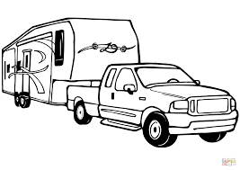 truck and rv camper trailer coloring page free printable