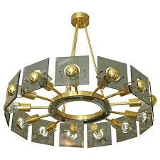 Lights Chandelier Italian Mid Century Modern Brass Smoked Glass 13 Lights Chandelier