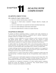 chapter 11 dealing with competition learning objectives