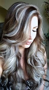beautiful gray hair streaks icy blonde highlights on ash brown hair my style pinterest