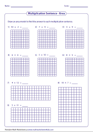 multiplication models worksheets