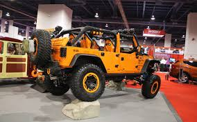 orange jeep rubicon jeep wrangler named hottest 4x4 suv at 2012 sema show truck