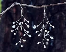 wire earrings silver wire earrings tree branch earrings wire wrapped jewelry