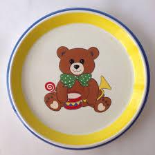 mikasa childs teddy bear plate dinner dinnerware ceramic blue