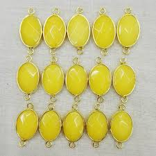 necklace making charms images Fashion 12pcs yellow jade stone necklace metal connectors for jpg