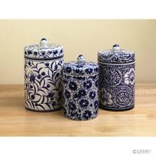 blue and white kitchen canisters floral canister set painted with intricate detail this set
