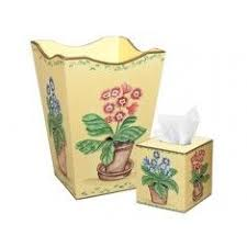Yellow Wastebasket White Leaf On Yellow Wastebasket And Tissue Box Set Wastebaskets