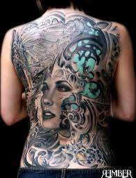 biomechanical tattoo face gothic back tattoos