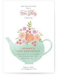 tea party kids birthday invitations minted