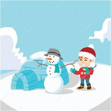 boy snow man and igloo house u2014 stock vector funwayillustration