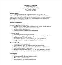 Bookkeeper Sample Resume by Bookkeeper Job Description 5 Insurance Assistant Job Description
