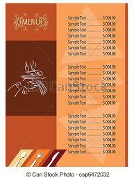 Designs Of Menu Card Vector Illustration Of Menu Card Template Csp6472032 Search