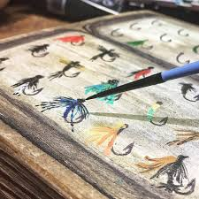 painting on driftwood trout and fly fishing art