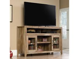 Sauder Computer Desk With Hutch by Sauder Dakota Pass Rustic Finish Entertainment Credenza With Glass