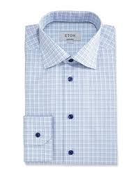 eton contemporary fit grid check dress shirt light blue navy