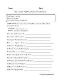first second and third person point of view worksheet teaching